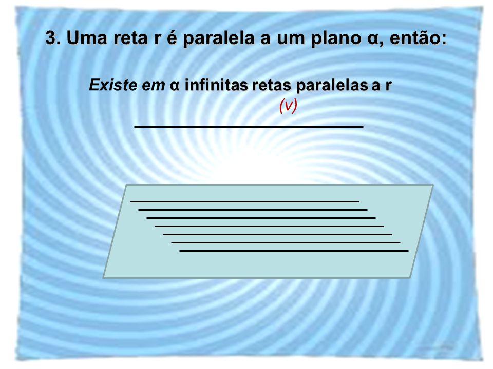3. Uma reta r é paralela a um plano α, então: α infinitas retas paralelas a r Existe em α infinitas retas paralelas a r (v)