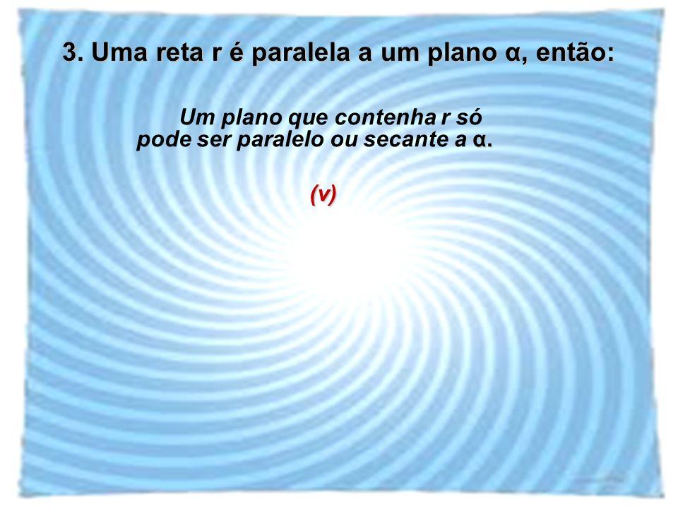 3. Uma reta r é paralela a um plano α, então: α. Um plano que contenha r só pode ser paralelo ou secante a α.(v)