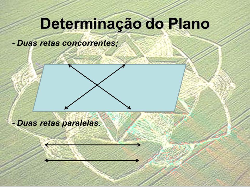 - Duas retas concorrentes; - Duas retas paralelas. Determinação do Plano