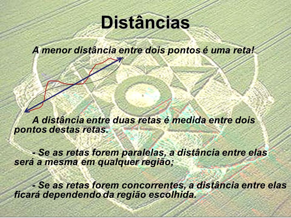 Distâncias A menor distância entre dois pontos é uma reta! A distância entre duas retas é medida entre dois pontos destas retas. - Se as retas forem p