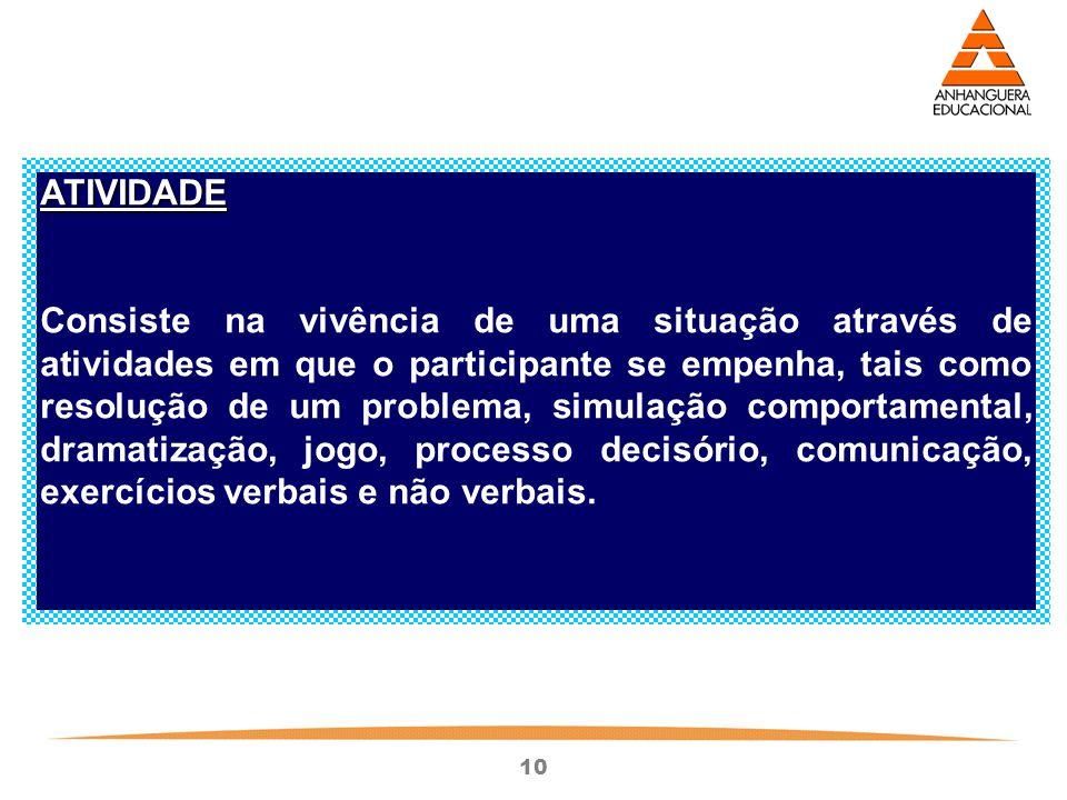 10 ATIVIDADE Consiste na vivência de uma situação através de atividades em que o participante se empenha, tais como resolução de um problema, simulaçã