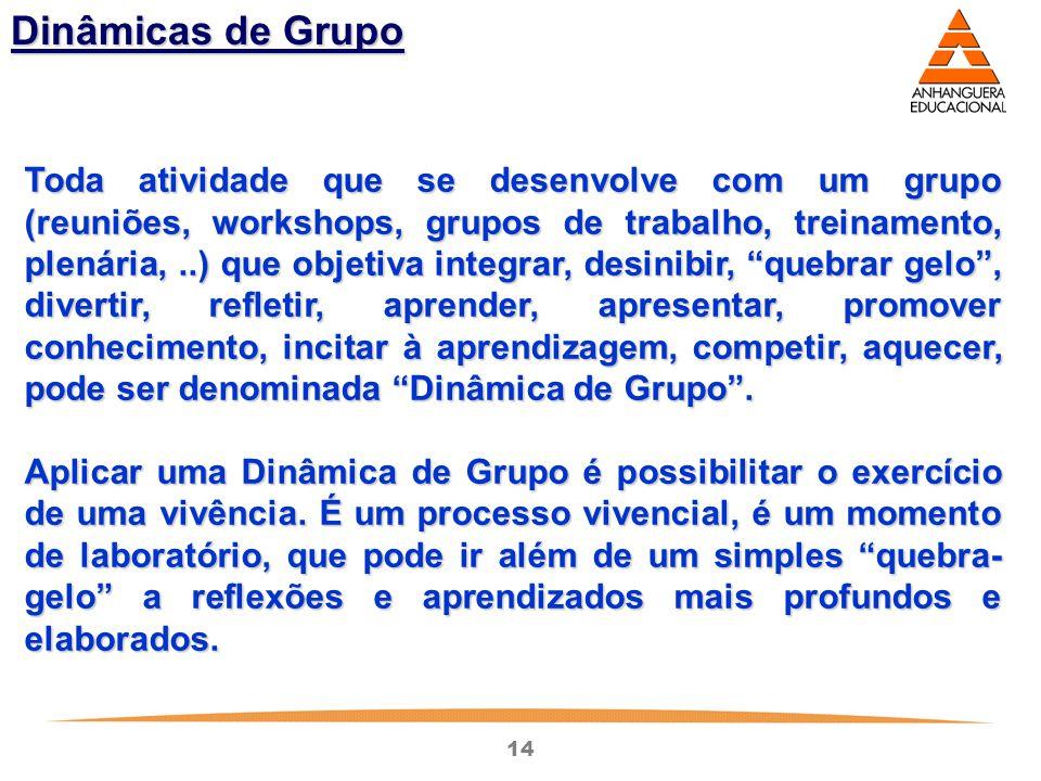 14 Dinâmicas de Grupo Toda atividade que se desenvolve com um grupo (reuniões, workshops, grupos de trabalho, treinamento, plenária,..) que objetiva i