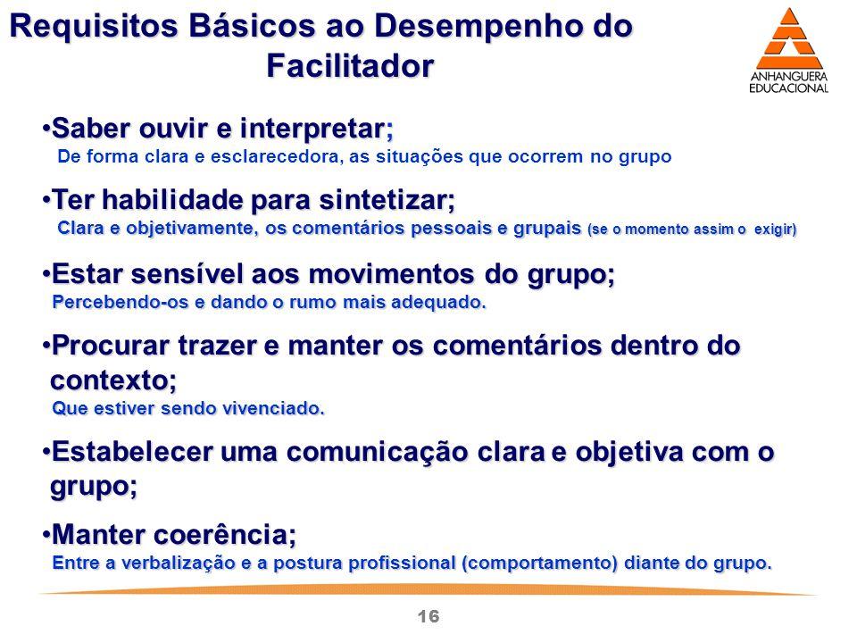 16 Requisitos Básicos ao Desempenho do Facilitador Saber ouvir e interpretar;Saber ouvir e interpretar; De forma clara e esclarecedora, as situações q