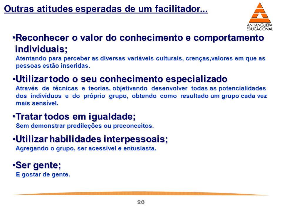 20 Outras atitudes esperadas de um facilitador... Reconhecer o valor do conhecimento e comportamentoReconhecer o valor do conhecimento e comportamento