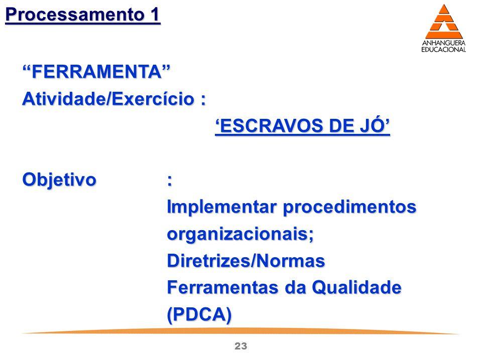 """23 Processamento 1 """"FERRAMENTA"""" Atividade/Exercício : 'ESCRAVOS DE JÓ' Objetivo: Imp l ementar procedimentos organizacionais; Diretrizes/Normas Ferram"""