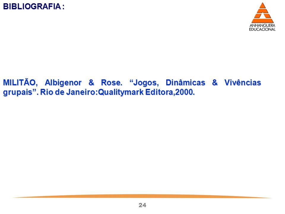"""24 BIBLIOGRAFIA : MILITÃO, Albigenor & Rose. """"Jogos, Dinâmicas & Vivências grupais"""". Rio de Janeiro:Qualitymark Editora,2000."""