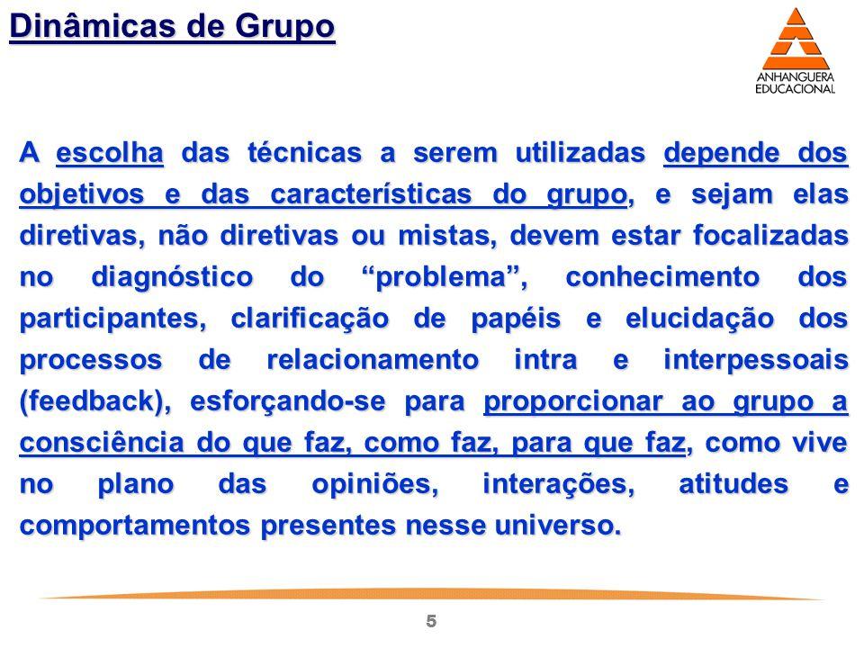 5 Dinâmicas de Grupo A escolha das técnicas a serem utilizadas depende dos objetivos e das características do grupo, e sejam elas diretivas, não diret