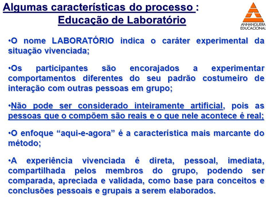 8 Algumas características do processo : Educação de Laboratório O nome LABORATÓRIO indica o caráter experimental da situação vivenciada;O nome LABORAT