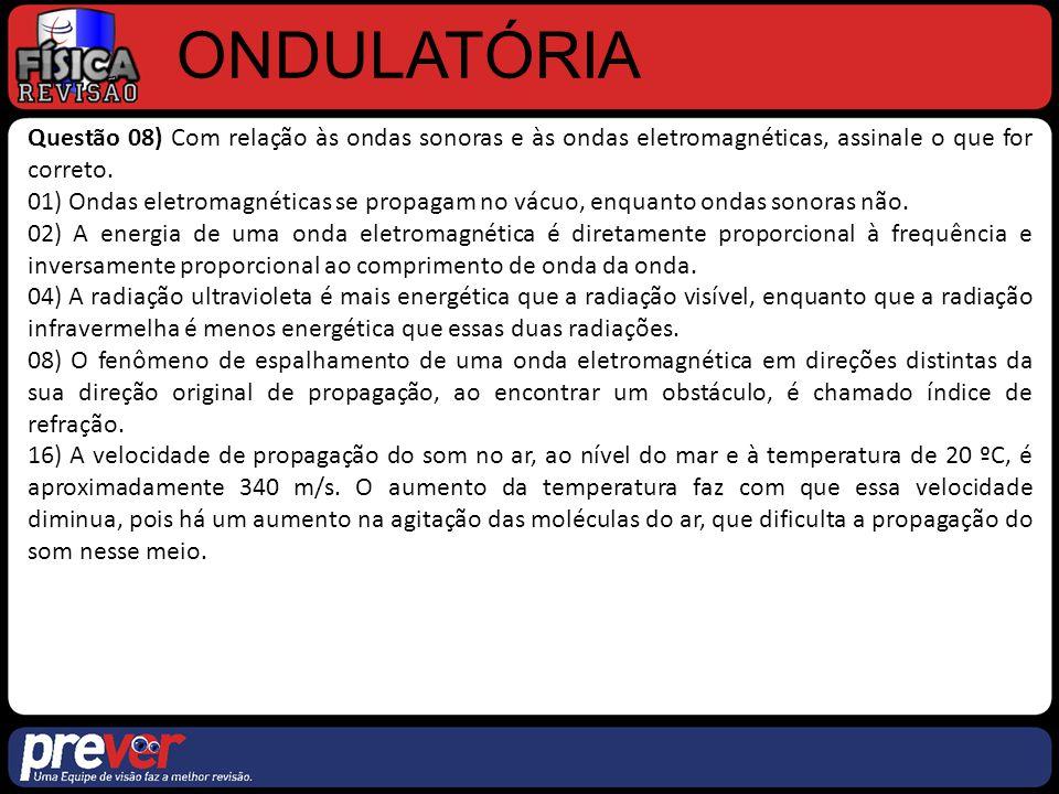 ONDULATÓRIA Questão 08) Com relação às ondas sonoras e às ondas eletromagnéticas, assinale o que for correto. 01) Ondas eletromagnéticas se propagam n
