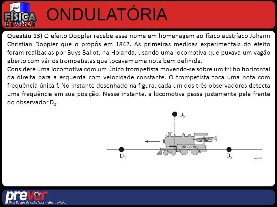 ONDULATÓRIA Questão 13) O efeito Doppler recebe esse nome em homenagem ao físico austríaco Johann Christian Doppler que o propôs em 1842. As primeiras