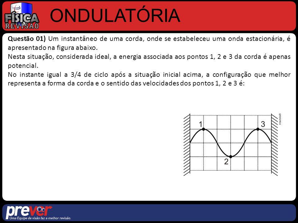ONDULATÓRIA Questão 01) Um instantâneo de uma corda, onde se estabeleceu uma onda estacionária, é apresentado na figura abaixo. Nesta situação, consid
