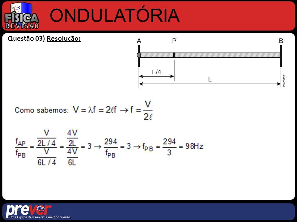 ONDULATÓRIA Questão 03) Resolução: