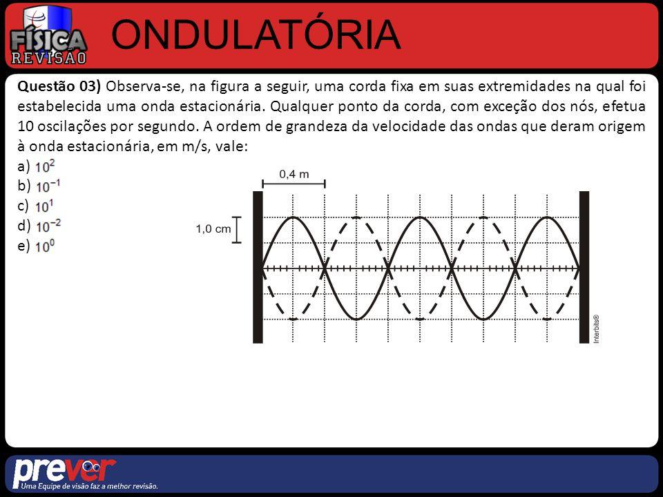 ONDULATÓRIA Questão 03) Observa-se, na figura a seguir, uma corda fixa em suas extremidades na qual foi estabelecida uma onda estacionária. Qualquer p