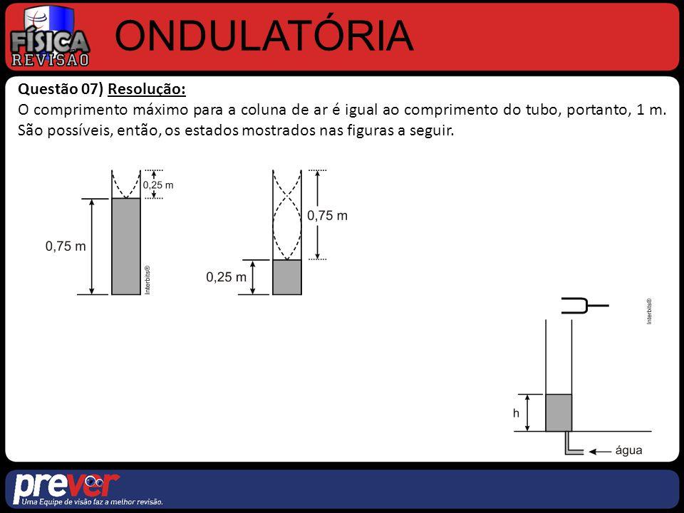 ONDULATÓRIA Questão 07) Resolução: O comprimento máximo para a coluna de ar é igual ao comprimento do tubo, portanto, 1 m. São possíveis, então, os es