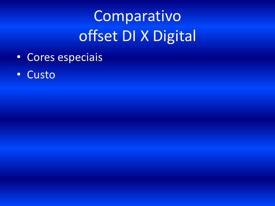 Comparativo offset DI X Digital Cores especiais Custo
