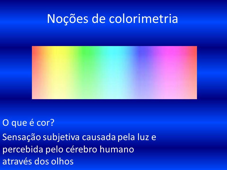 Noções de colorimetria O que é cor? Sensação subjetiva causada pela luz e percebida pelo cérebro humano através dos olhos