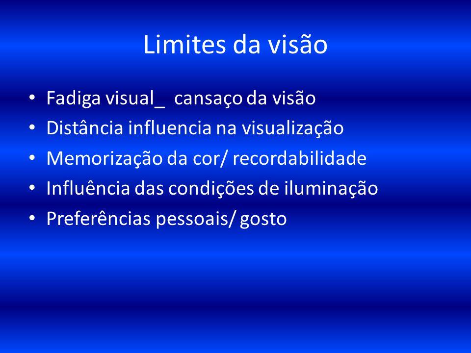 Limites da visão Fadiga visual_ cansaço da visão Distância influencia na visualização Memorização da cor/ recordabilidade Influência das condições de