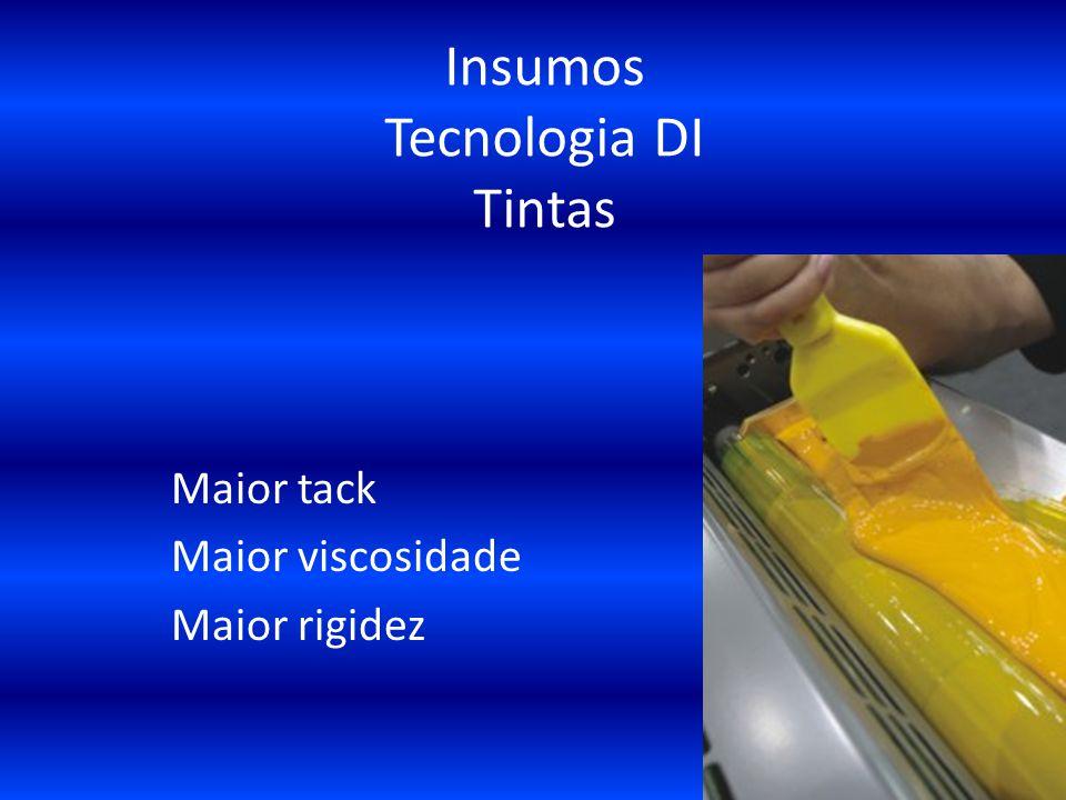 Insumos Tecnologia DI Tintas Maior tack Maior viscosidade Maior rigidez
