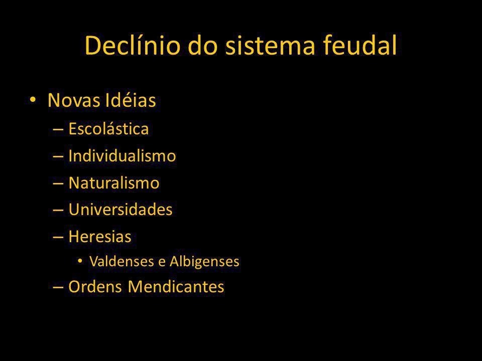 Declínio do sistema feudal Novas Idéias – Escolástica – Individualismo – Naturalismo – Universidades – Heresias Valdenses e Albigenses – Ordens Mendicantes