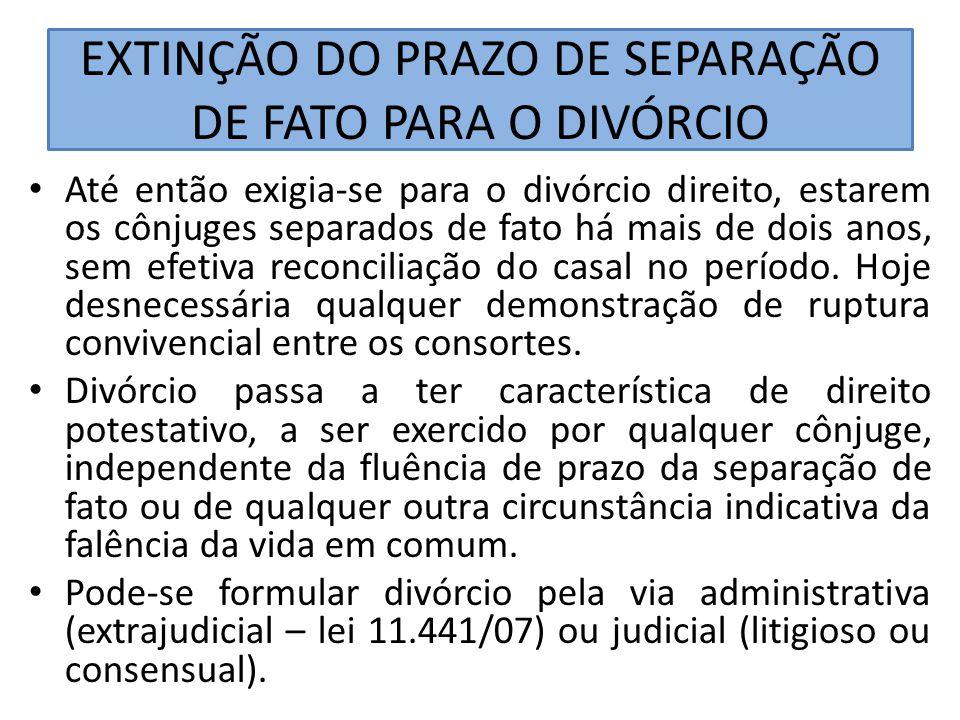 EXTINÇÃO DO PRAZO DE SEPARAÇÃO DE FATO PARA O DIVÓRCIO Até então exigia-se para o divórcio direito, estarem os cônjuges separados de fato há mais de d