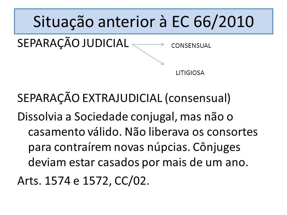 Situação anterior à EC 66/2010 SEPARAÇÃO JUDICIAL SEPARAÇÃO EXTRAJUDICIAL (consensual) Dissolvia a Sociedade conjugal, mas não o casamento válido. Não