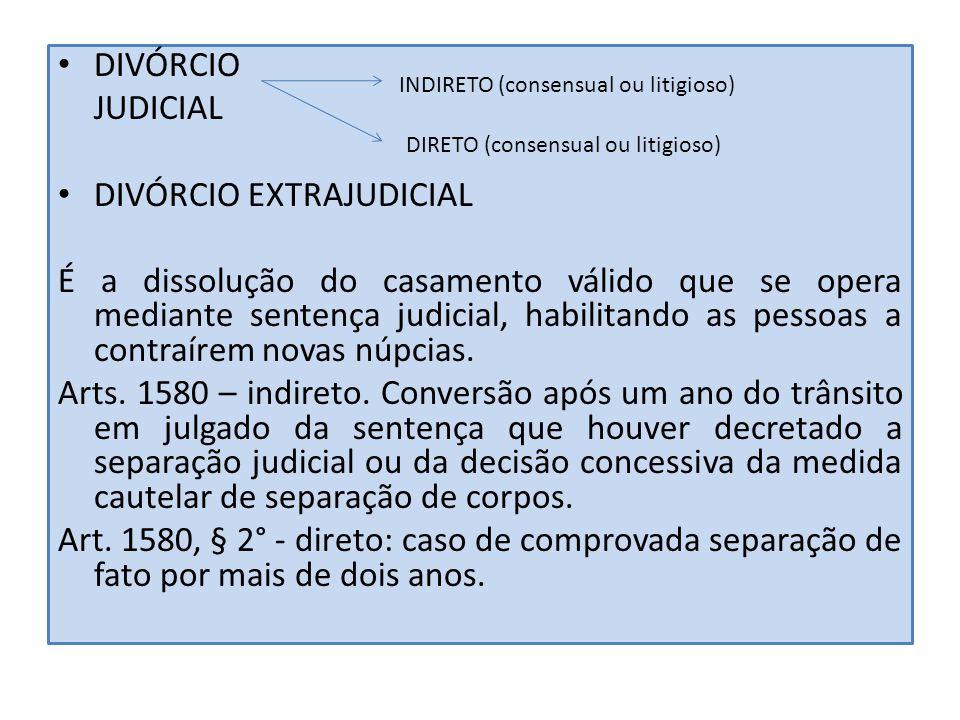 DIVÓRCIO JUDICIAL DIVÓRCIO EXTRAJUDICIAL É a dissolução do casamento válido que se opera mediante sentença judicial, habilitando as pessoas a contraír