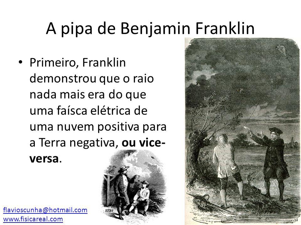 A pipa de Benjamin Franklin Primeiro, Franklin demonstrou que o raio nada mais era do que uma faísca elétrica de uma nuvem positiva para a Terra negat