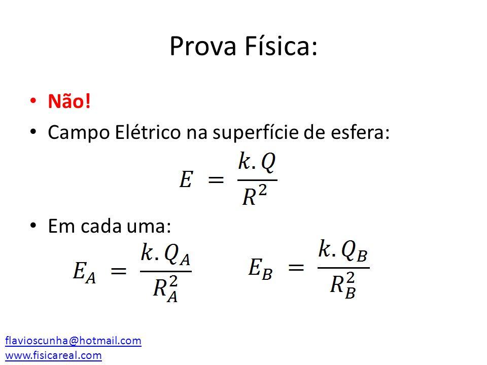 Prova Física: Não! Campo Elétrico na superfície de esfera: Em cada uma: flavioscunha@hotmail.com www.fisicareal.com