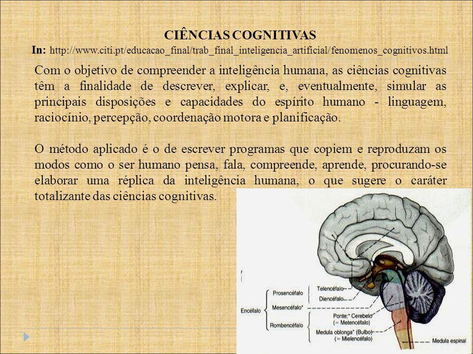 CIÊNCIAS COGNITIVAS In: http://www.citi.pt/educacao_final/trab_final_inteligencia_artificial/fenomenos_cognitivos.html Nível Lógico Nível de Implementação BC AQUISIÇÃO FORMALIZAÇÃO IMPLEMENTAÇÃO REFINAMENTO linguagem natural linguagem de representação de conhecimento linguagens de programação Nível de Conhecimento