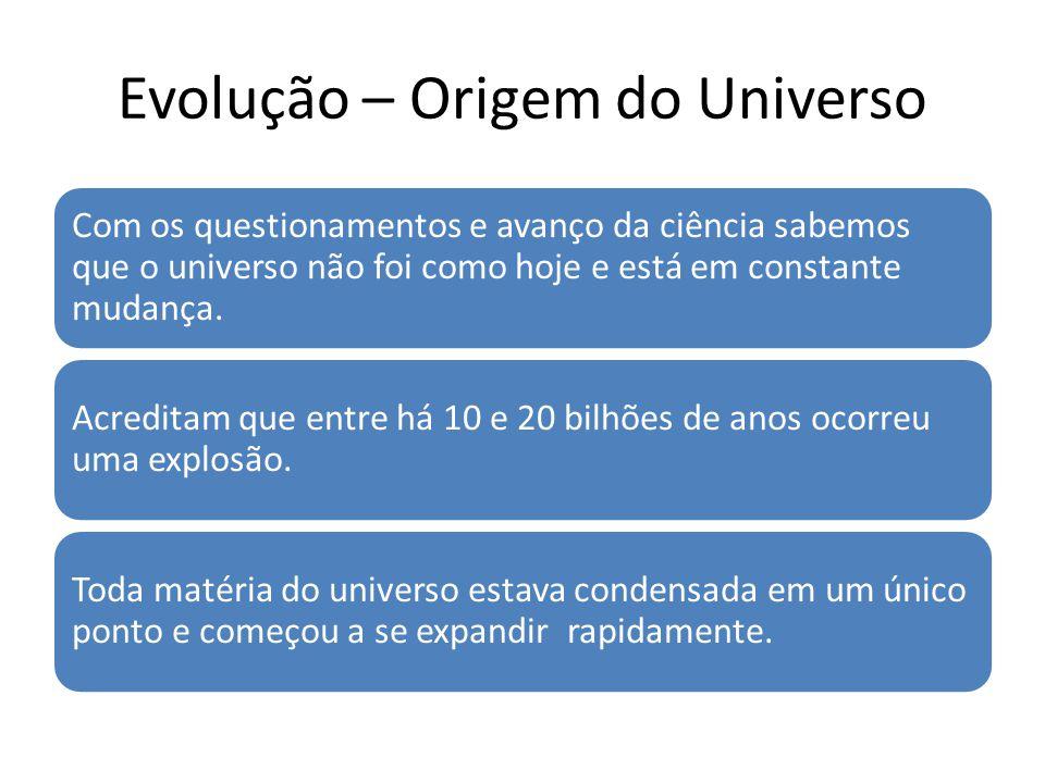 Evolução – Origem do Universo Com os questionamentos e avanço da ciência sabemos que o universo não foi como hoje e está em constante mudança. Acredit