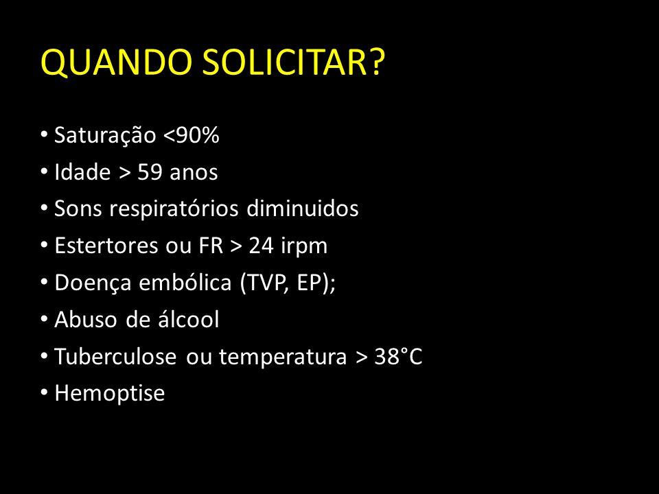 QUANDO SOLICITAR? Saturação <90% Idade > 59 anos Sons respiratórios diminuidos Estertores ou FR > 24 irpm Doença embólica (TVP, EP); Abuso de álcool T