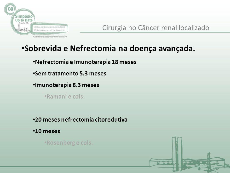 Sobrevida e Nefrectomia na doença avançada. Nefrectomia e Imunoterapia 18 meses Sem tratamento 5.3 meses Imunoterapia 8.3 meses Ramani e cols. 20 mese
