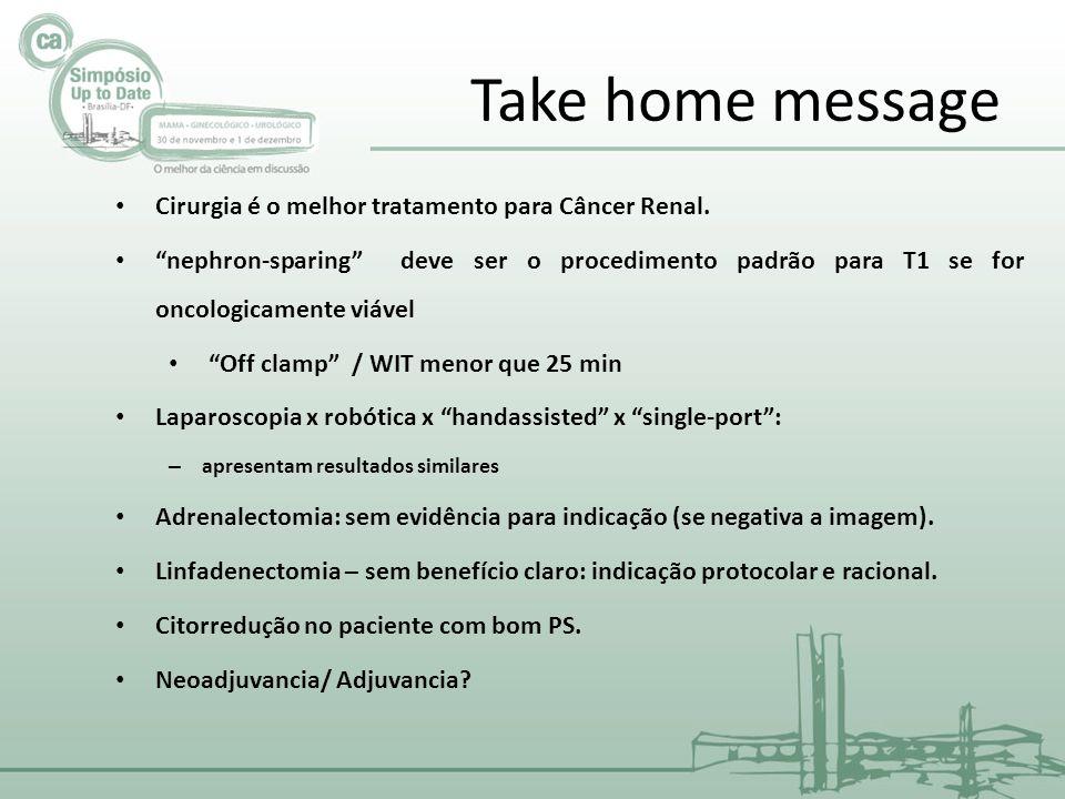 """Take home message Cirurgia é o melhor tratamento para Câncer Renal. """"nephron-sparing"""" deve ser o procedimento padrão para T1 se for oncologicamente vi"""