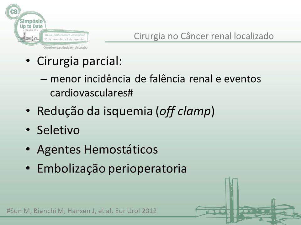 Cirurgia parcial: – menor incidência de falência renal e eventos cardiovasculares# Redução da isquemia (off clamp) Seletivo Agentes Hemostáticos Embol