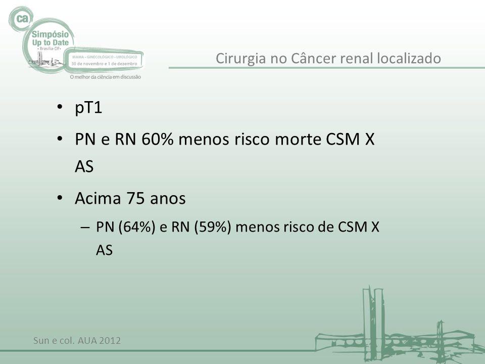 pT1 PN e RN 60% menos risco morte CSM X AS Acima 75 anos – PN (64%) e RN (59%) menos risco de CSM X AS Sun e col. AUA 2012 Cirurgia no Câncer renal lo