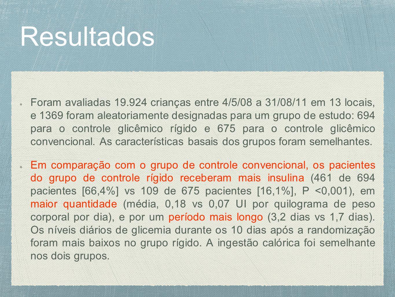 Resultados Foram avaliadas 19.924 crianças entre 4/5/08 a 31/08/11 em 13 locais, e 1369 foram aleatoriamente designadas para um grupo de estudo: 694 para o controle glicêmico rígido e 675 para o controle glicêmico convencional.
