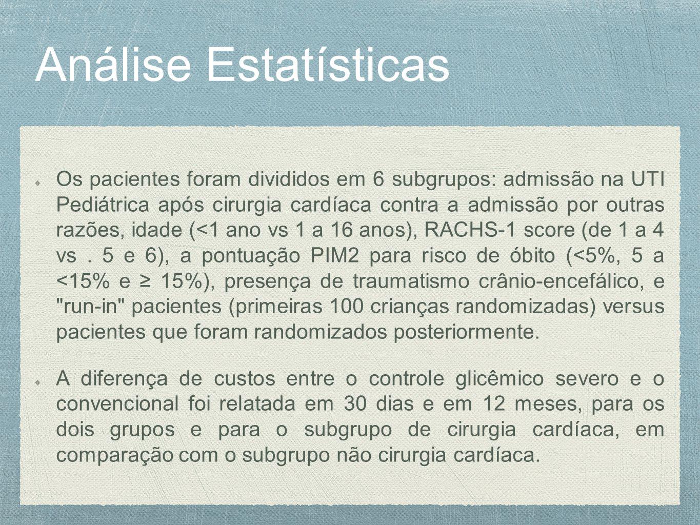 Análise Estatísticas Os pacientes foram divididos em 6 subgrupos: admissão na UTI Pediátrica após cirurgia cardíaca contra a admissão por outras razões, idade (<1 ano vs 1 a 16 anos), RACHS-1 score (de 1 a 4 vs.