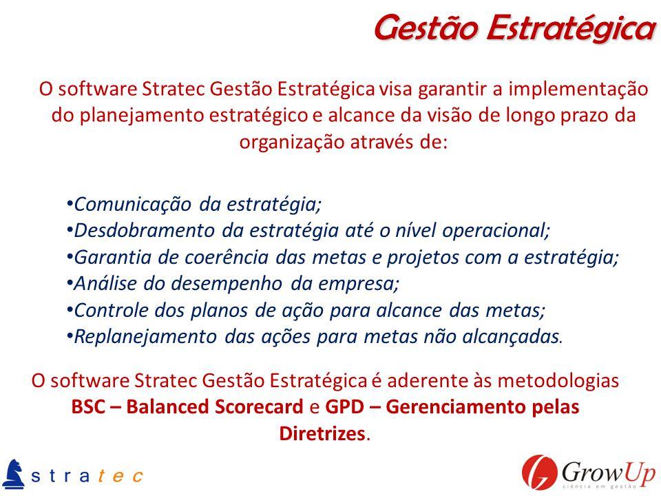 Comunicação da estratégia; Desdobramento da estratégia até o nível operacional; Garantia de coerência das metas e projetos com a estratégia; Análise d