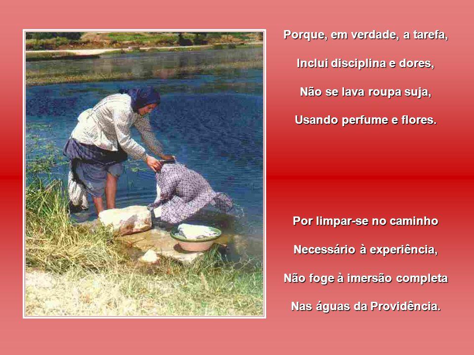 Pelo bem da roupa limpa Não se esqueça a criatura Dos serviços que custou O esforço da lavadura.