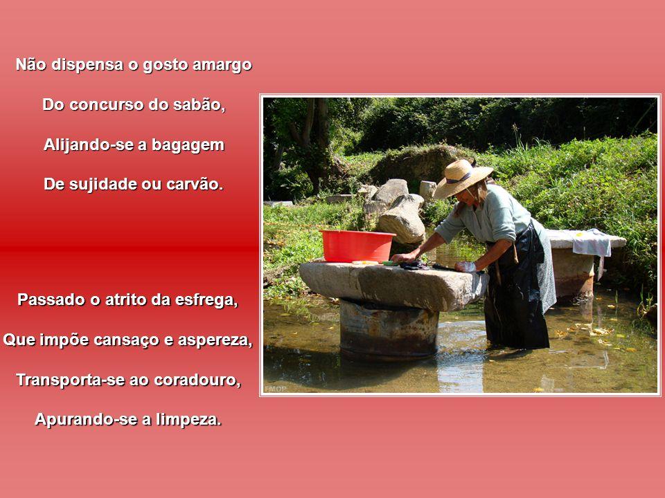 Porque, em verdade, a tarefa, Inclui disciplina e dores, Não se lava roupa suja, Usando perfume e flores.