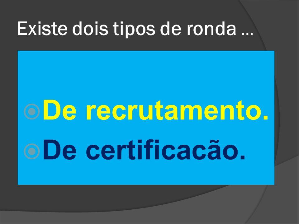 Existe dois tipos de ronda …  De recrutamento.  De certificacão.