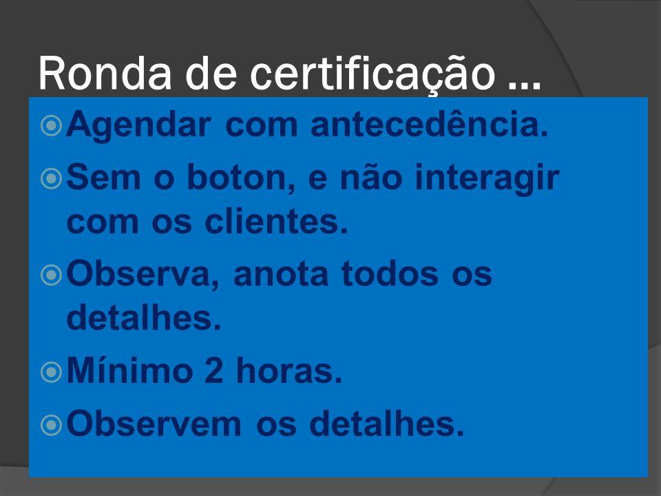 Ronda de certificação …  Agendar com antecedência.  Sem o boton, e não interagir com os clientes.  Observa, anota todos os detalhes.  Mínimo 2 hor