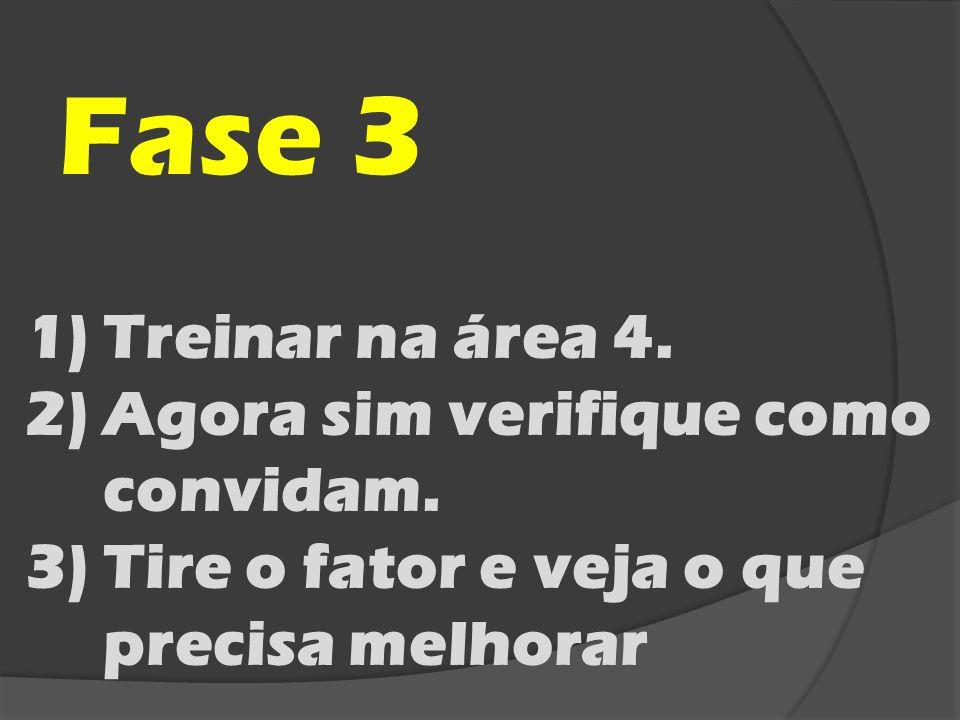 Fase 3 1)Treinar na área 4. 2)Agora sim verifique como convidam. 3)Tire o fator e veja o que precisa melhorar