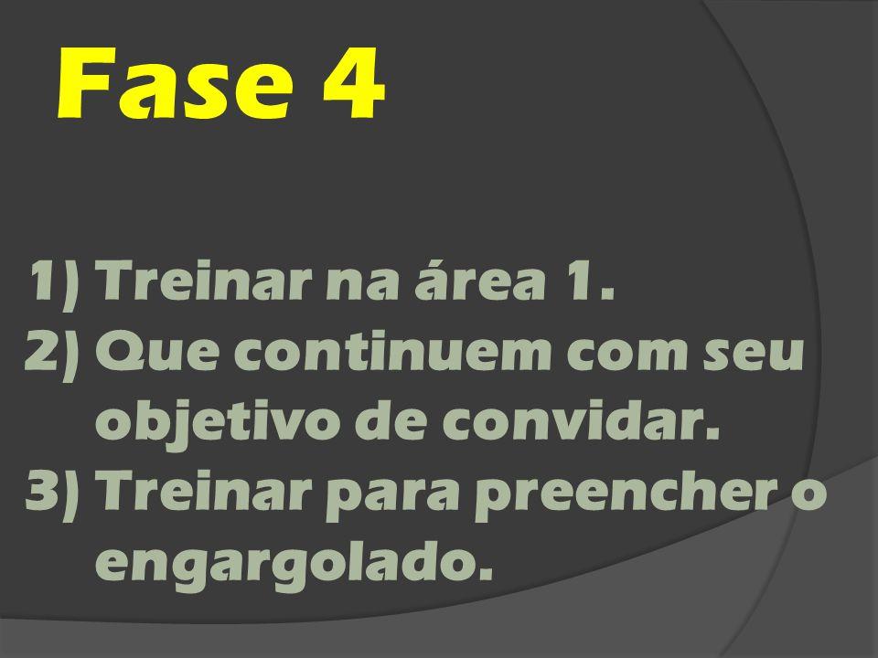 Fase 4 1)Treinar na área 1. 2)Que continuem com seu objetivo de convidar. 3)Treinar para preencher o engargolado.