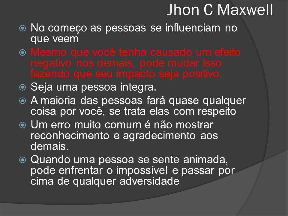 Jhon C Maxwell  No começo as pessoas se influenciam no que veem  Mesmo que você tenha causado um efeito negativo nos demais, pode mudar isso fazendo