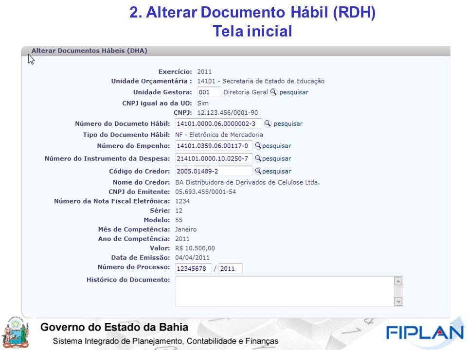 2. Alterar Documento Hábil (RDH) Tela inicial