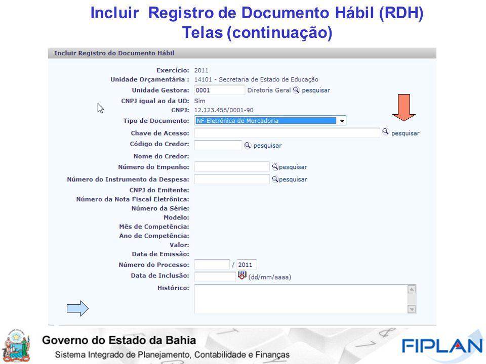 Incluir Registro de Documento Hábil (RDH) Telas (continuação)