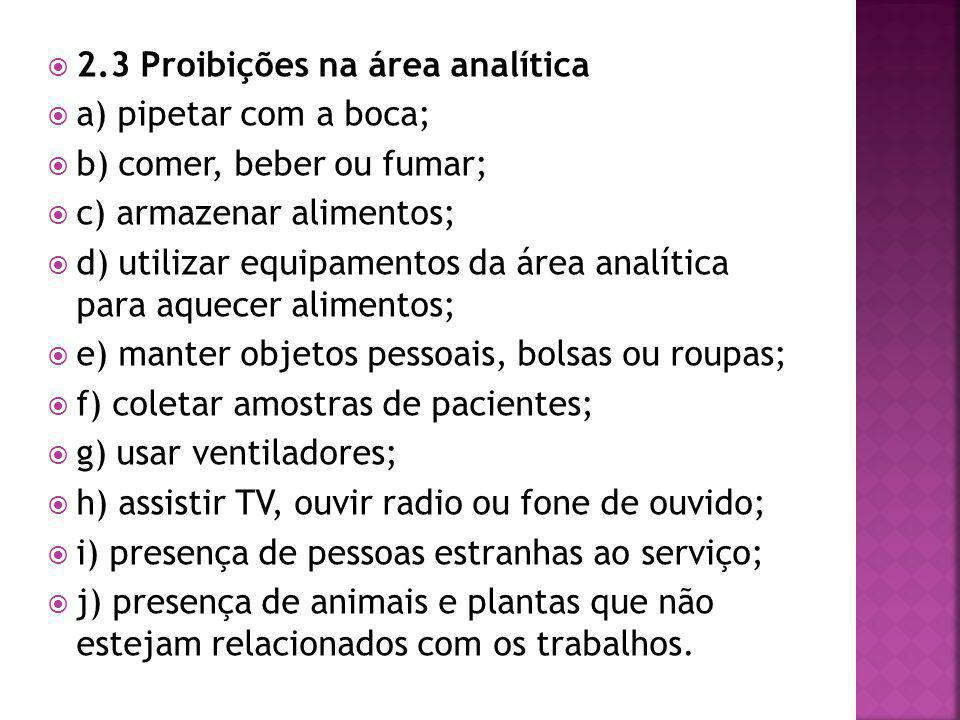  2.3 Proibições na área analítica  a) pipetar com a boca;  b) comer, beber ou fumar;  c) armazenar alimentos;  d) utilizar equipamentos da área a