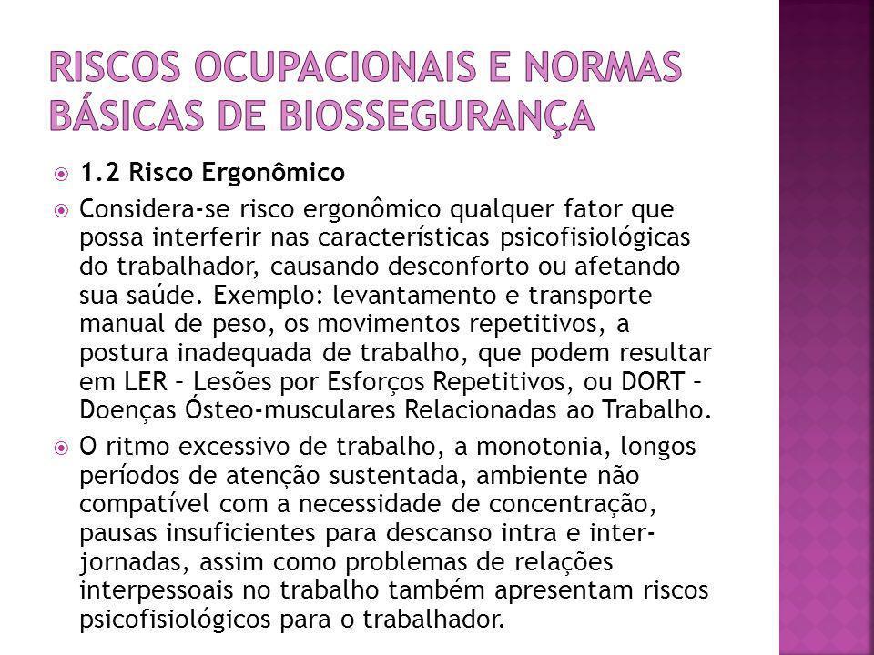  1.2 Risco Ergonômico  Considera-se risco ergonômico qualquer fator que possa interferir nas características psicofisiológicas do trabalhador, causa