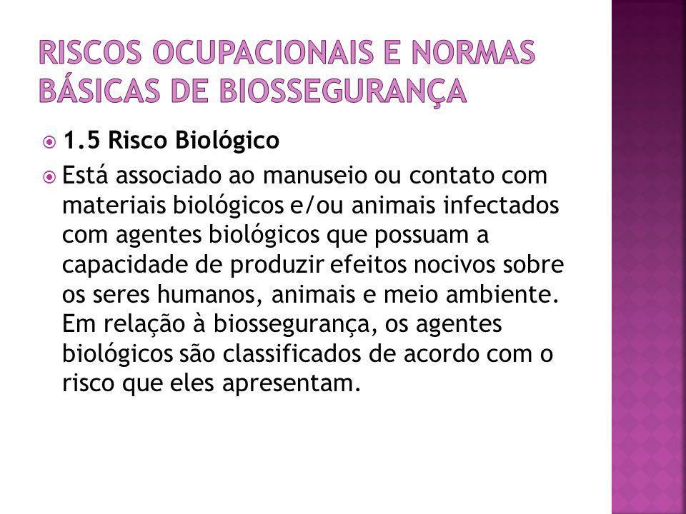  1.5 Risco Biológico  Está associado ao manuseio ou contato com materiais biológicos e/ou animais infectados com agentes biológicos que possuam a ca